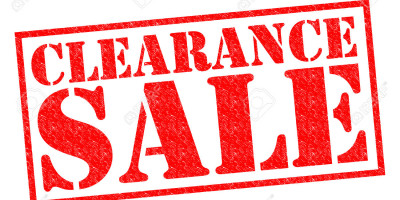 Clearance Sale, 25th March, 11.00 – 17.00